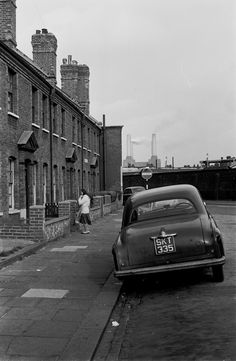 BATTERSEA POWER STATION, 1967 Seen from near Clapham Junction. As a child I lived in a house like this not far away and my dad had the same car, a 1954 Vauxhall Velox. South London, London Life, London Street, London Today, London History, British History, Asian History, Tudor History, Vintage London