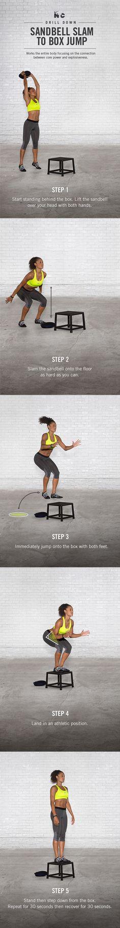 Sandbell Slam to Box Jump. #training #boxjump #thighs #hips #burn