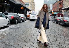 Ramya Giangola in a Saint Laurent cape, 3.1 Phillip Lim sweater and Celine pants