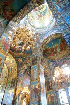 This is a shot of the mosaic interior of the Church of the Spilled Blood in Saint Petersburg, Russia. There are millions of tiny mosaic pieces used to create these beautiful scenes.