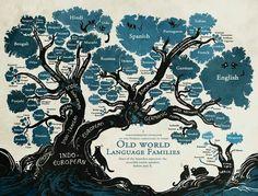 Language Family Tree_Cropped Old World Language Families European Languages, World Languages, Web Comic, English Romance, German English, Spanish English, Learning Spanish, Spanish Activities, Learning Italian