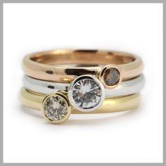 Handmade bespoke gold diamond ring contemporary unique