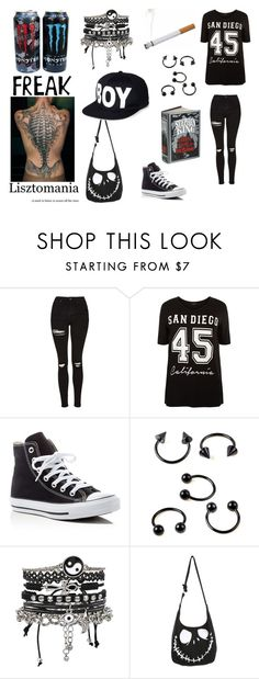 """Untitled #108"" by nightstalker ❤ liked on Polyvore featuring Topshop, New Look, Converse, ASOS, GUSTA and BOY London"