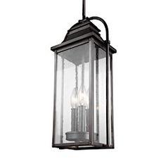 Feiss Lighting Wellsworth 3 - Light Outdoor Pendant Lantern in Antique Bronze OL13209ANBZ