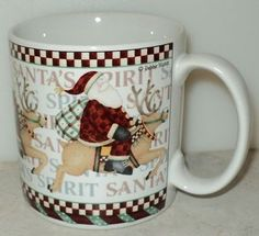 Sakura Debbie Mumm Santas Spirit Reindeer Christmas Holiday Coffee Cup Mug  - This Item is for sale at LB General Store http://stores.ebay.com/LB-General-Store