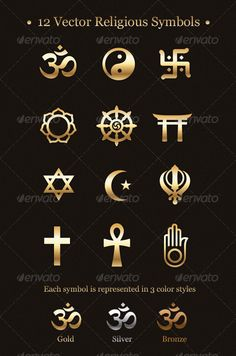 12 Vector Religious Symbols - GraphicRiver Item for Sale