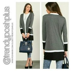 Tri-Color Button Up Cardigan Tri - Color Button Up Cardigan  95 % Rayon 5 % Spandex Sweaters