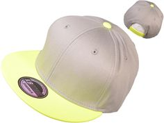 3a6e8414401 Wholesale Cotton Flat Bill Blank Plain Snapback Hats w  Green Underbill  (Light Gray Neon Lime)