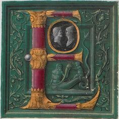 archivalia:    Initial of cylindrical red crystal with joints of gold in foliate design, embracing a cameo with portraits of Augustus and Faustina, attributed to The Master of the London Pliny, from the opening leaf of Cambridge University Library's copy of Pliny's Naturalis historia (Venice : Nicolas Jenson, 1476). Inc.1.B.3.2[1360]