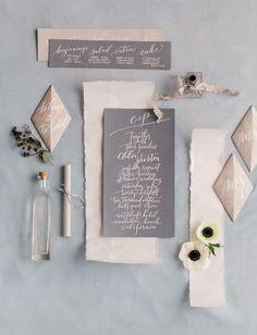 gray calligraphy invitation