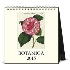 2015 Botanica Desk Calendar  Twelve hand-colored botanical prints from the 18th and early 19th centuries printed on Italian ivory laid paper stock from Cavallini & Co. This self-standing easel calendar makes a great gift. Prints are perfect for collecting, framing and using in future art projects after the month is over. Spiral bound. 6x6.5""