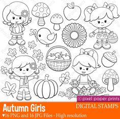 Autumn Girls  Digital stamps  Clipart  Fall  Line art