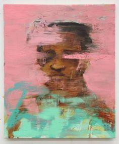 "Artist Alex Jackson; Painting, ""Crumble"""