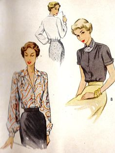 1940s Misses Blouse Office Fashion