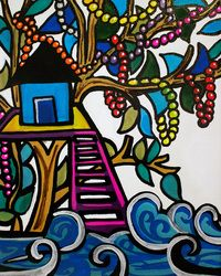 """""""Bead Tree-house"""" oil and acrylic painting on canvas by New Orleans artist Ally Burguieres, 8x10"""", original $375, Limited-edition Signed & Retouched Canvas Giclee Print $75. Happy Mardi Gras!!"""