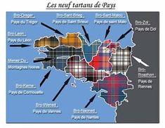 the tartans of Bretagne. Y compris le pays de Nantes. Region Bretagne, Celtic Nations, Scottish Tartans, Scottish Highlands, Travel Posters, Textiles, Edinburgh, Latex Fashion, Gothic Fashion