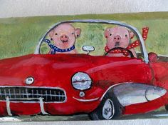 Pigs have all the fun! This painting is on a brick paver.