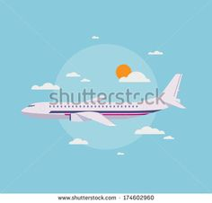 Flat design style modern vector illustration concept of modern detailed airplane flying through clouds in the blue sky. Isolated on stylish ...
