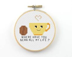 Coffee bean cross stitch pattern, valentine pattern, coffee pun pattern, modern cross stitch, coffee pdf pattern, funny cross stitch