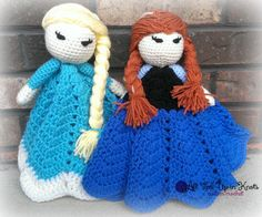 Elsa and Anna Frozen Inspired Crocheted Lovey's. Basic lovey doll pattern by Bowtykes. Stitched by All Tied Up In Knots. www.facebook.com/alltiedupinknots www.etsy.com/shop/homemadebyholmberg