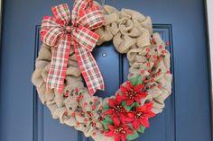 Christmas wreath Burlap wreath Holiday wreath Plaid wreath