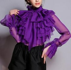 Women-Purple-Ladies-Horn-Long-Sleeve-Chiffon-Shirt-Blouse-Loose-Bow-Tops-UK-Sz