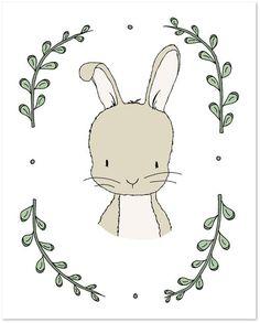 Woodland Nursery Art - Portrait of a Rabbit - Bunny Nursery Art - by Sweet Melody Designs