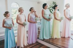 Emma and her girls in birdesmaid dresses from FHFH turned out a great hit at her wedding! Those elegant colors are: Pastel Liliac, Hint of Mint, Blush, Pastel Blue and Tender Yellow.  Bridesmaid dresses they chose: http://www.forherandforhim.com/lace-and-chiffon-u-back-dress_1656.htmlEmma`s review: Was just sending some pictures of my wedding, thank you so much for my dresses they were beautiful.I have attached a lot of photos please feel free to use whatever you wish :) Thanks again...