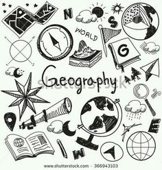 Geography And Geology Education Subject Handwriting Doodle Icon Of Earth Explora., EDUCATİON, Geography And Geology Education Subject Handwriting Doodle Icon Of Earth Exploration And Map Design Sign And Symbol In Isolated Background Paper Used . Doodle Drawings, Doodle Art, Doodle Icon, School Notebooks, Sketch Notes, Binder Covers, Map Design, Bullet Journal Inspiration, Paper Background