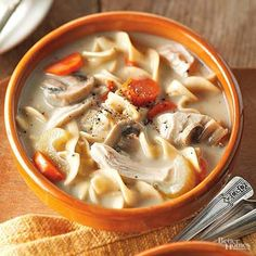 A play on traditional chicken soup, this soup is a comforting and creamy low-fat soup. Topping with toasted nuts and dried cranberries makes for a flavorful finish.