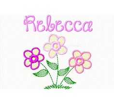 Baby Girl's Bib Personalized Embroidered Flowers by ChainStitchers