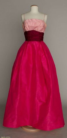 Pink Color Block Ball Gown, 1950s, Augusta Auctions, November 12, 2014