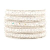 Clear Quartz and AB Crystal Wrap Bracelet on Antique White Leather