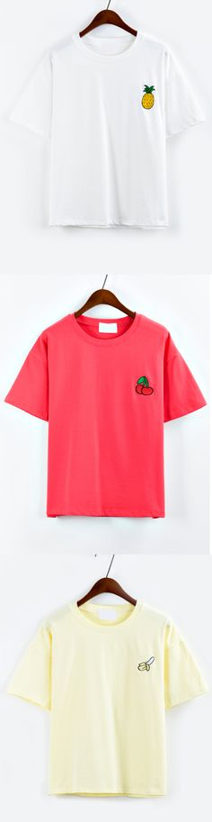 Summer Cute Tops - Pineapple Embroidered Drop Shoulder White T-shirt from romwe.com