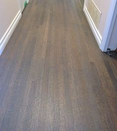 Red oak hardwood floor custom stained a grey mix colour. Finished with a satin water based finish. Hardwood Floor Repair, Hardwood Floor Colors, Refinishing Hardwood Floors, Oak Hardwood Flooring, Floor Refinishing, Furniture Refinishing, Diy Furniture, Red Oak Floors, Real Wood Floors