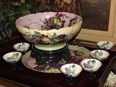 Limoges Grape Punch Bowl, Plinth, Matching Tray and Six Stemmed Cups