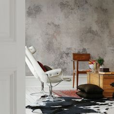 Stunning mural PATINA in lovely soft vintage colours by Rebel Walls.Printed on smooth non woven wallpaper and easy to apply (paste the wall). Hand Painted Wallpaper, Painting Wallpaper, Fabric Wallpaper, Tin Tiles, Cosy Corner, Concrete Wall, Minimalist Home, Designer Wallpaper, Marrakech