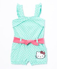 Another great find on #zulily! Cockatoo Polka Dot Hello Kitty Romper - Infant #zulilyfinds