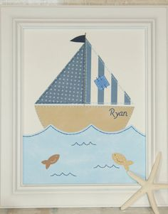 Sailboat Nautical Nursery Art Boy Wall Art Nursery by JadieBaby