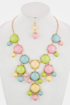 BAUBLE NECKLACE EARRINGS SET (Pastels) - $24