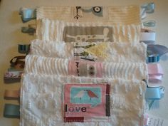 Tag A Long vintage chenille carry along tactile blanket.  Taggies  Facebook.com/ moxieandzab