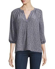 Joie Addie B Printed 3/4-Sleeve Blouse, Dark Navy New offer @@@ Price :$248 Price Sale $169