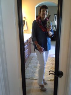 Day 4 of the Style Me Challenge, 4/17/2014 Chambray shirt from Target, Loft skinny white jeans, Wilson's Leather infinity scarf, neutral heels from Kohl's.