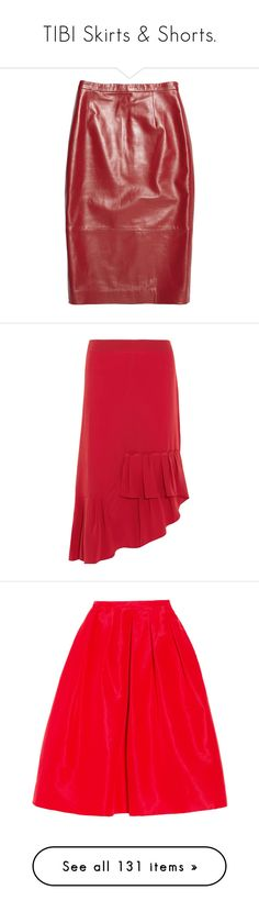 """TIBI Skirts & Shorts."" by that-drumming-noise ❤ liked on Polyvore featuring skirts, bottoms, red, tibi, real leather pencil skirt, high waist knee length pencil skirt, leather skirt, high waisted knee length skirt, high waisted skirts and red pleated skirt"