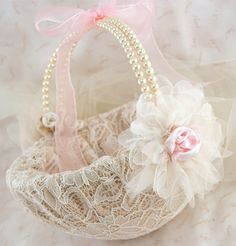 Flower Girl Basket Bridal Basket in Champagne, Blush Pink and Ivory with Pearls and Lace Vintage Inspired. $125.00, via Etsy.