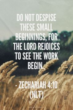 Do not despise these small beginnings, for the Lord rejoices to see the work begin.. - Zechariah 4:10 (NLT)