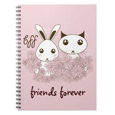 #Girl Friendship Cute Animal Personalized Pink Spiral Notebook - #giftideas for #kids #babies #children #gifts #giftidea