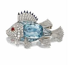 Aquamarine and Diamond Fish Brooch - my sign and birthstone!