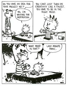 Project procrastination. Calvin and Hobbes.