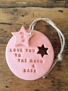 Love you to the moon: terracotta clay decoration & personalised tag Valentine's gift wedding gift new baby gift nursery decor (6.50 GBP) by TwoAndBoo